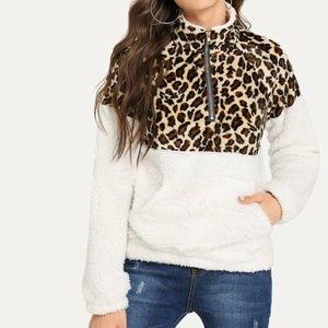 NEW Quarter Zip Leopard Print Teddy Sweatshirt
